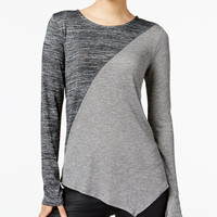 Bar III Asymmetrical Colorblocked Top, Only at Macy's - Juniors Tops - Macy's