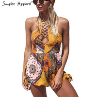 Sexy backless lace up summer elegant jumpsuit romper Hollow out women playsuit beach Boho floral print overalls