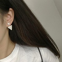 Korean Version Of The New Fashion Jewelry Crystal Size Triangular Earrings Geometric Stud Earings