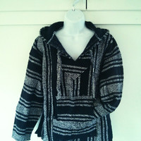 Mexican Baja Hoodie- Small/ urban outfitters/ hippie / boho/ gypsy/ surfwear / surfer / pullover / drug rug / black and white