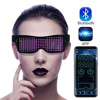 Magic Bluetooth Led Party Glasses APP Control Luminous Designs and Text Assorted Colors Glasses EMD DJ Electric Syllables Party Eye Glasses FREE SHIPPING
