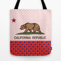 California Plaid Republic Flag Picture Tote Bag by NorCal