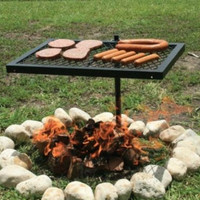 Outdoor Cooking Grill Fire Pit Campfire Heavy Duty Swivel Camping Fishing Hiking