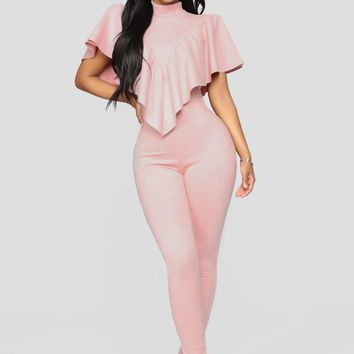You Can't Suede Me Jumpsuit - Pink