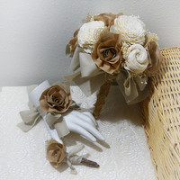 Rustic Shabby Chic Bouquet, sola flowers, cotton fabric, burlap, lace, natural brown tones, country wedding. Made to Order.