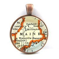 Maine Pendant from Vintage Map, in Glass Tile Circle