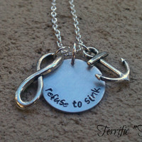 Refuse To Sink Hand Stamped Necklace With Anchor by TerrificTus