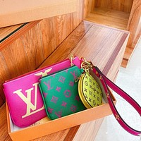 Louis Vuitton fashion three-piece multi-color patchwork zero purse wrist bag