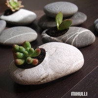 hand engraved beach pebble flower planter  simple zen by Mihulli