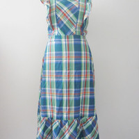 80s does 50s Plaid Pinafore Dress by Tiina S-M // Vintage Apron Day Dress // Prairie Dress