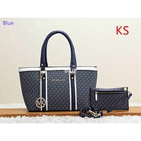 """Michael kors"" casual wild large capacity solid color fashion shopping bag handbag shoulder bag Blue"