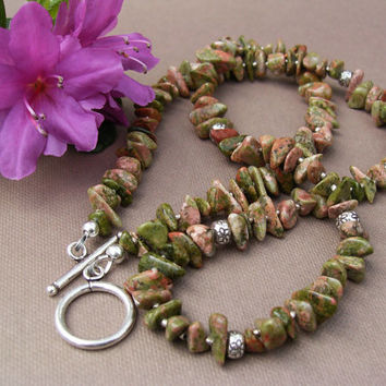 Unakite Necklace, Pink and Green Gemstones, Karen Hill Tribe Sterling Silver, Modern Classic Southwest Style, Trendy Jewelry, Gift Idea