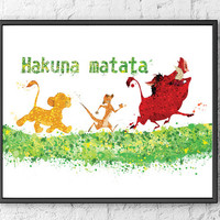 The Lion King Watercolor, Simba Art Print, Timon and Pumba Watercolor, Art Poster, Movie Poster, Nursery Art Decor, Kids Room Decor - 28