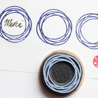 geometric circle stamp. frame hand carved rubber stamp. spinning circle. gift wrapping/craft projects. mounted
