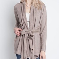 dreamers by debut - soft belted open cardigan - mocha taupe