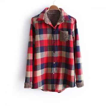 Indressme | Dark Red Plaids Thicken Blouse  style 031203502 only $44.33 .