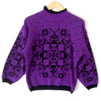 Vintage 80s Aztec Tribal Purple Snowflake Tacky Ugly Ski Sweater