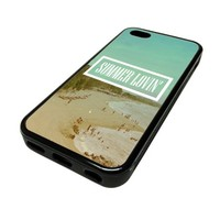 Apple iPhone 5C 5 C Case Cover Summer Lovin Beach Vintage DESIGN BLACK RUBBER SILICONE Teen Gift Vintage Hipster Fashion Design Art Print Cell Phone Accessories