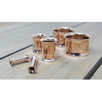 """Rose gold flesh tunnel stainless steel double flare ear tunnels 14k plated pair 8g-1"""""""