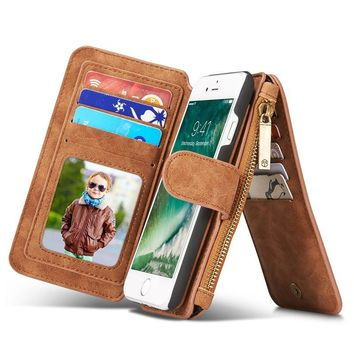 For iPhone 7 Vintage Leather Multifunctional Magnetic Detachable Zipper Wallet   4.7 Inch