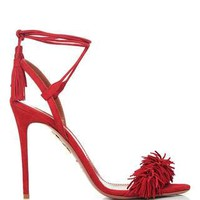 Wild Thing Red Fringed Heeled Sandals