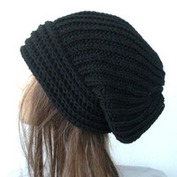 Hand Knit Hat- Womens hat - chunky knit Slouchy  Black Beanie  Slouch  Hat   Fall Winter Accessories   Beanie Autumn Fashion