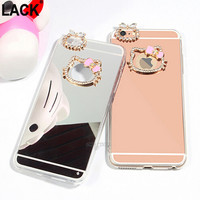 i6/6s Luxury Glitter Hello kitty case For Apple iphone 6 6s 6plus 5 5s 4S TPU Diamond Mirror phone case cover fundas Rose Gold