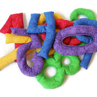 Rainbow Number Shaped Bean Bags Red Purple Blue Green Yellow Bold Brights Educational Toy Homeschool (set of 10) - US Shipping Included