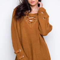 All Tied Up Sweater - Camel