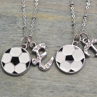 personalized soccer necklace set, football jewelry, soccer team, best friend gift, graduation, christmas gift, soccer mom, birthday gift set