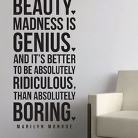 """Marilyn Monroe Wall Vinyl Quote  - """"Imperfection is beauty"""""""