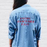 Going Nowhere Fast Destroyed Denim Shirt