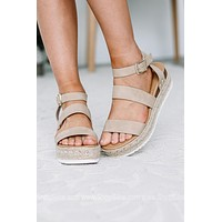 Spring Fever Platform Wedge Open Toe Sandal | Taupe