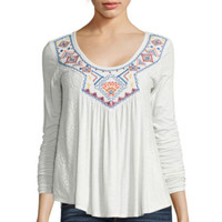 Arizona Long-Sleeve Embroidered Lace Knit Top