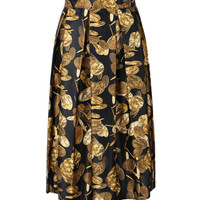 Black Coin Print Pleated Midi Skirt