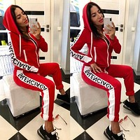 BALENCIAGA Fashion Women Casual Zipper Jacket Coat Top Pants Set Two-Piece Sportswear Red