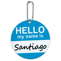 Santiago Hello My Name Is Round ID Card Luggage Tag
