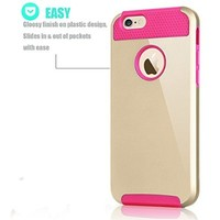 iPhone 6S Case, Tekcoo(TM) iPhone 6 / 6S (4.7 INCH) [Shock Absorbing] [Scratch Proof] Hybrid Impact Defender Slim Hard Case Cover Plastic Shell Outer +TPU Rubber Silicone Inner [Champagne Gold/Pink]