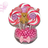 Small Round Baby Girl Bear Lollipop Centerpiece, pink, girl, baby shower, lollipop, candy, centerpiece, candy buffet, its a girl