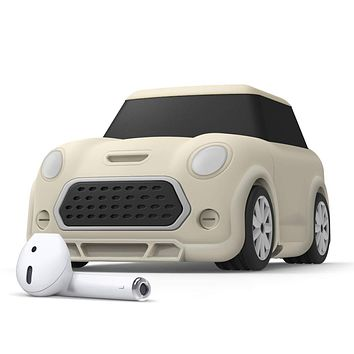 elago Mini CAR AirPods Case with Keychain Designed for AirPods 1 & 2 [Headlights and Taillights Glow in The Dark] [Patent Registered] [Classic White]