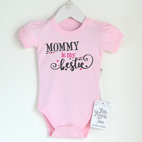 Mommy Is My Bestie. Baby Girl Onesuit. Cute Baby Girl Clothes. Baby Girl Outfit. New Mom Gift. Baby Girl Summer Outfit. Pink Baby Romper.
