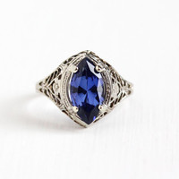 Vintage 14k White Gold Filigree Created Sapphire Ring - Antique Size 6 Art Deco 1920s Violet Blue Marquise A&S Agnini Singer Fine Jewelry