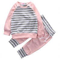 High Quality Cotton Newborn Kids Infant Baby Girls Long Sleeve Striped Tops+Long Pants Leggings Pink Outfits Set 2PCS