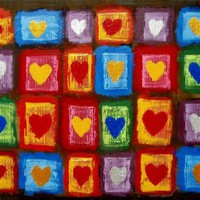 "View: painting abstract wall art ""Heart Anthology"" impasto multi coloured silver gold heart romantic painting contemporary modern art abstraction expression acrylic 3 sizes available 24 x 18 "" 