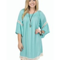 Flying Tomato Women's Mint with Crochet Trim Dress- Plus Sizes
