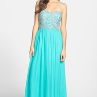 Women's Sean Collection Embellished Strapless Silk Gown