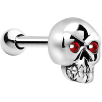 Silver 925 Red Gem Skull Cartilage Tragus Earring | Body Candy Body Jewelry