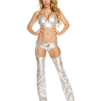 Silver Rhinestone Studded Chaps with Stoned Belt Buckle