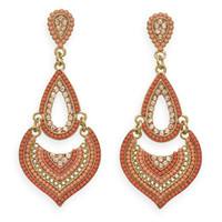 Gold Tone Fashion Earrings with Orange Beads and Crystal