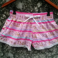 Cute Lace Trim Shorts Pink Ballet Dancer Print Low Rise For Beach Summer Clothes Clothing Comfy For Girl and Women in Red Wear with Tank Top